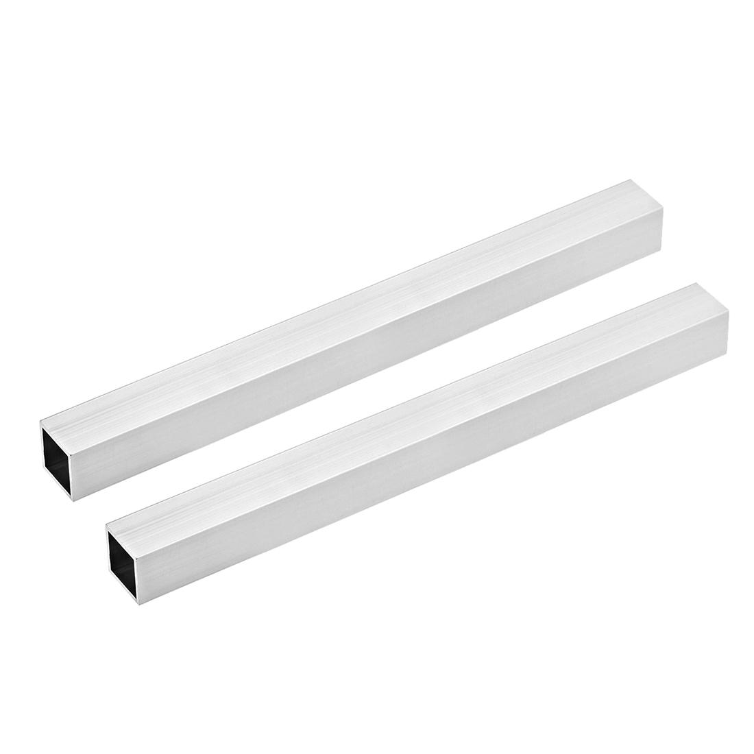 6063 Aluminum Square Tube 25mmx25mmx0.8mm Wall Thickness 300mm Long Tubing 2 Pcs