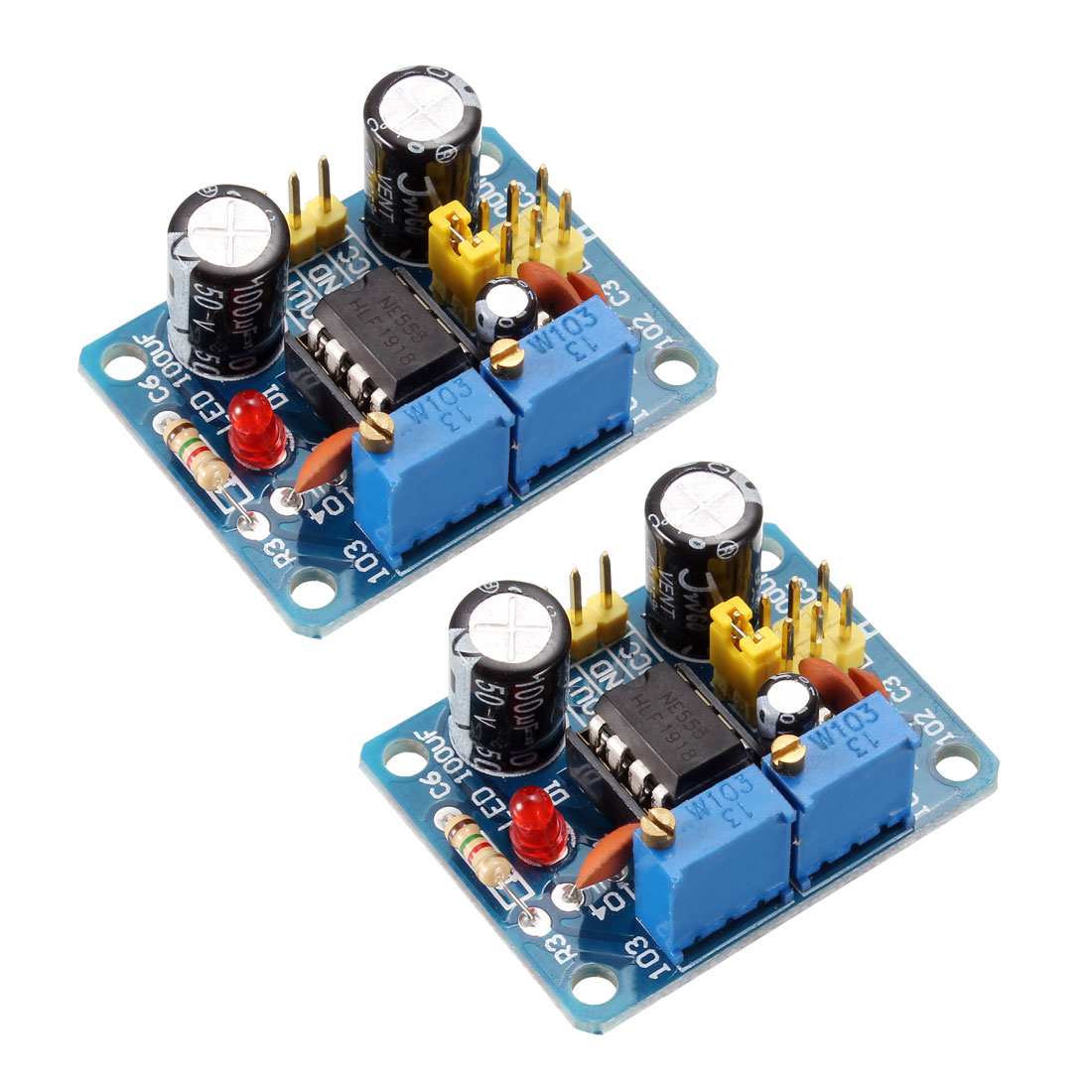 NE555 Square Wave Output Pulse Module with Adjustable Frequency Diode LED 2pcs