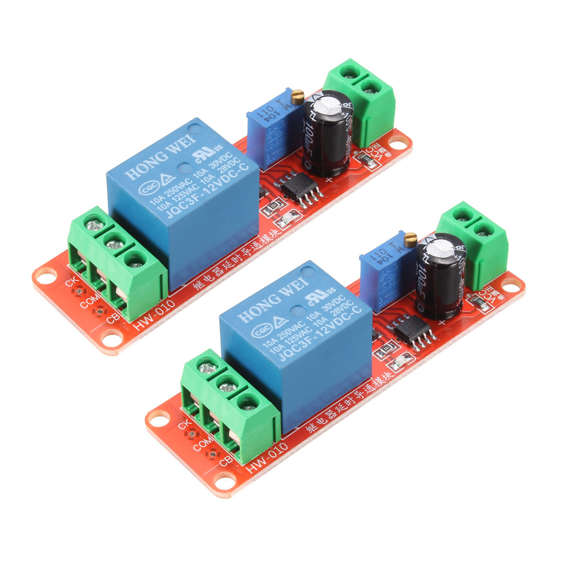 DC12V NE555 Module Delay Timer Switch Adjustable Module for 0-10s 2pcs