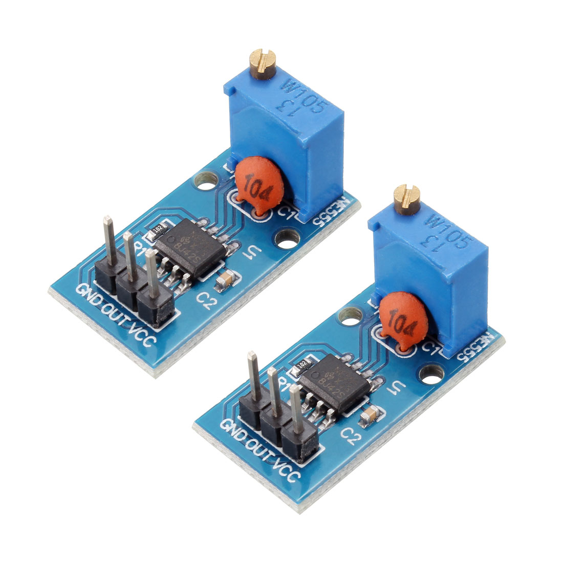 DC5-12V NE555 Square Wave Output Pulse Adjustable Frequency Module 2pcs