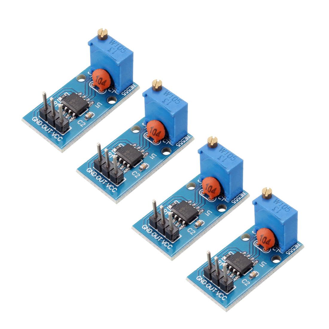DC5-12V NE555 Square Wave Output Pulse Adjustable Frequency Module 4pcs
