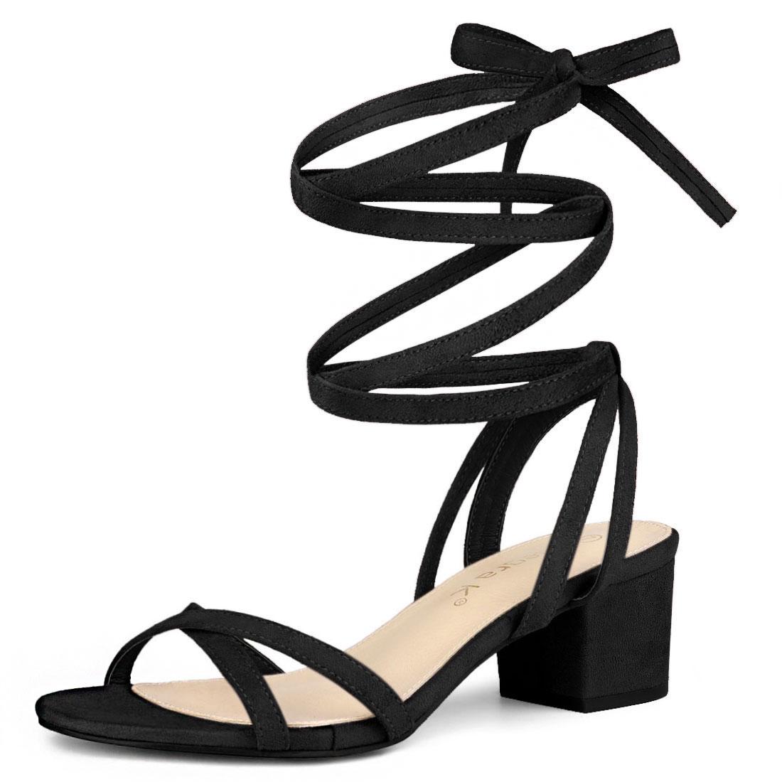 Allegra K Women's Open Toe Block Heels Lace Up Sandals Black US 6