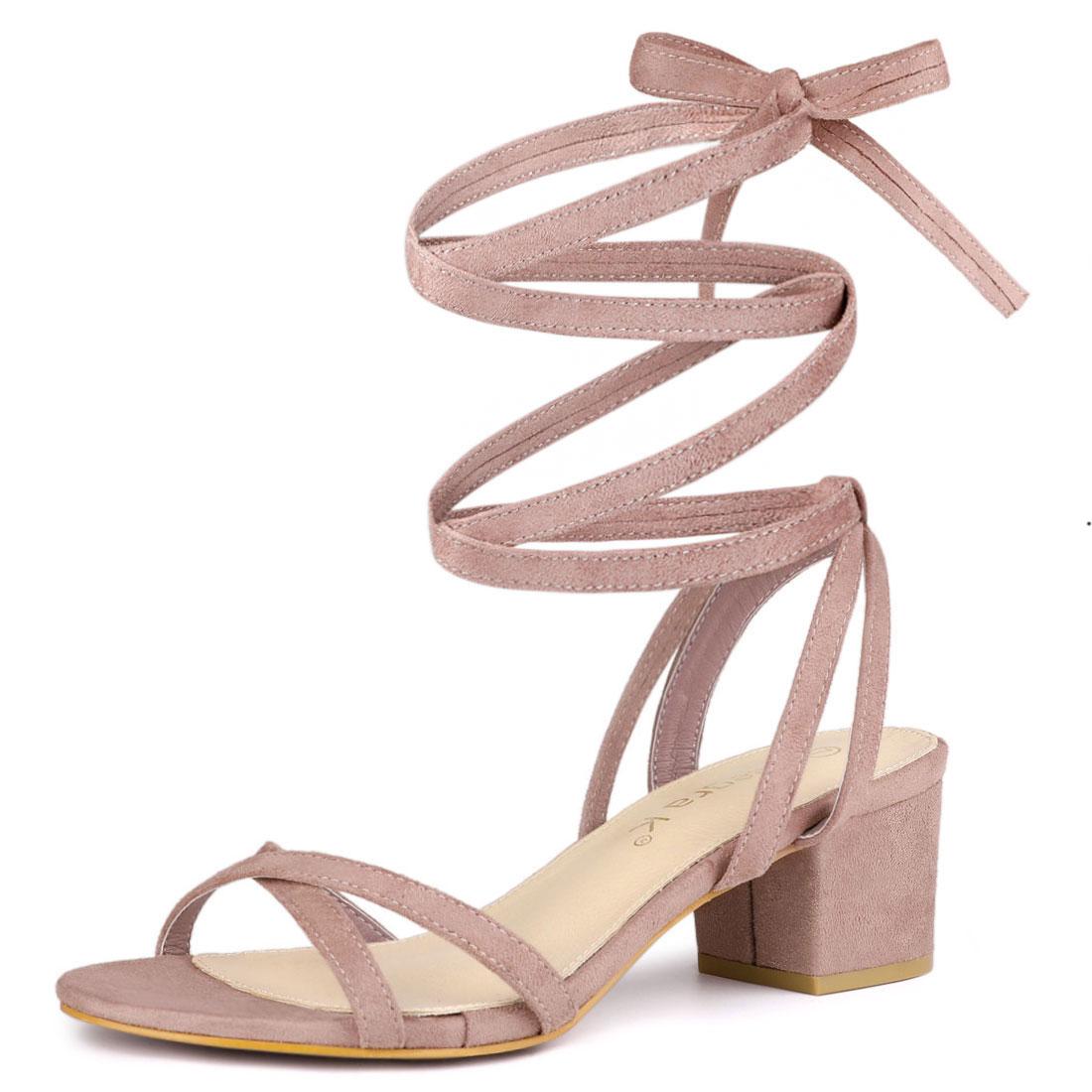 Allegra K Women's Open Toe Block Heels Lace Up Sandals Dust Pink US 9