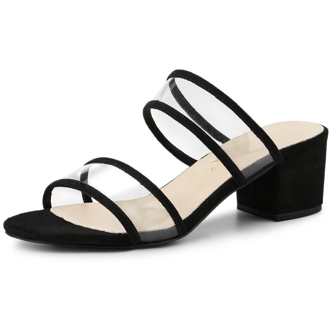 Allegra K Women's Clear Strap Block Heel Slide Sandals Black US 5.5