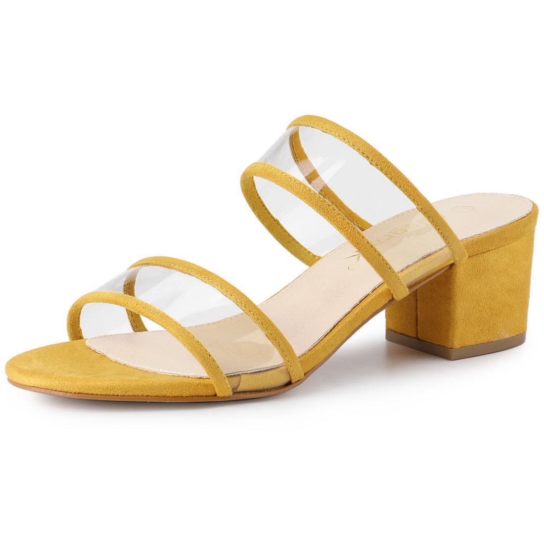 Allegra K Women's Clear Strap Block Heel Slide Sandals Yellow US 7