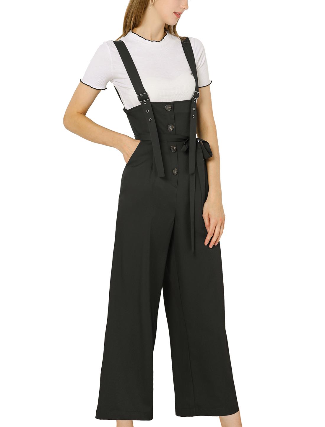 Women's Button Front High Waist Belt Straight Overall Jumpsuit Black M