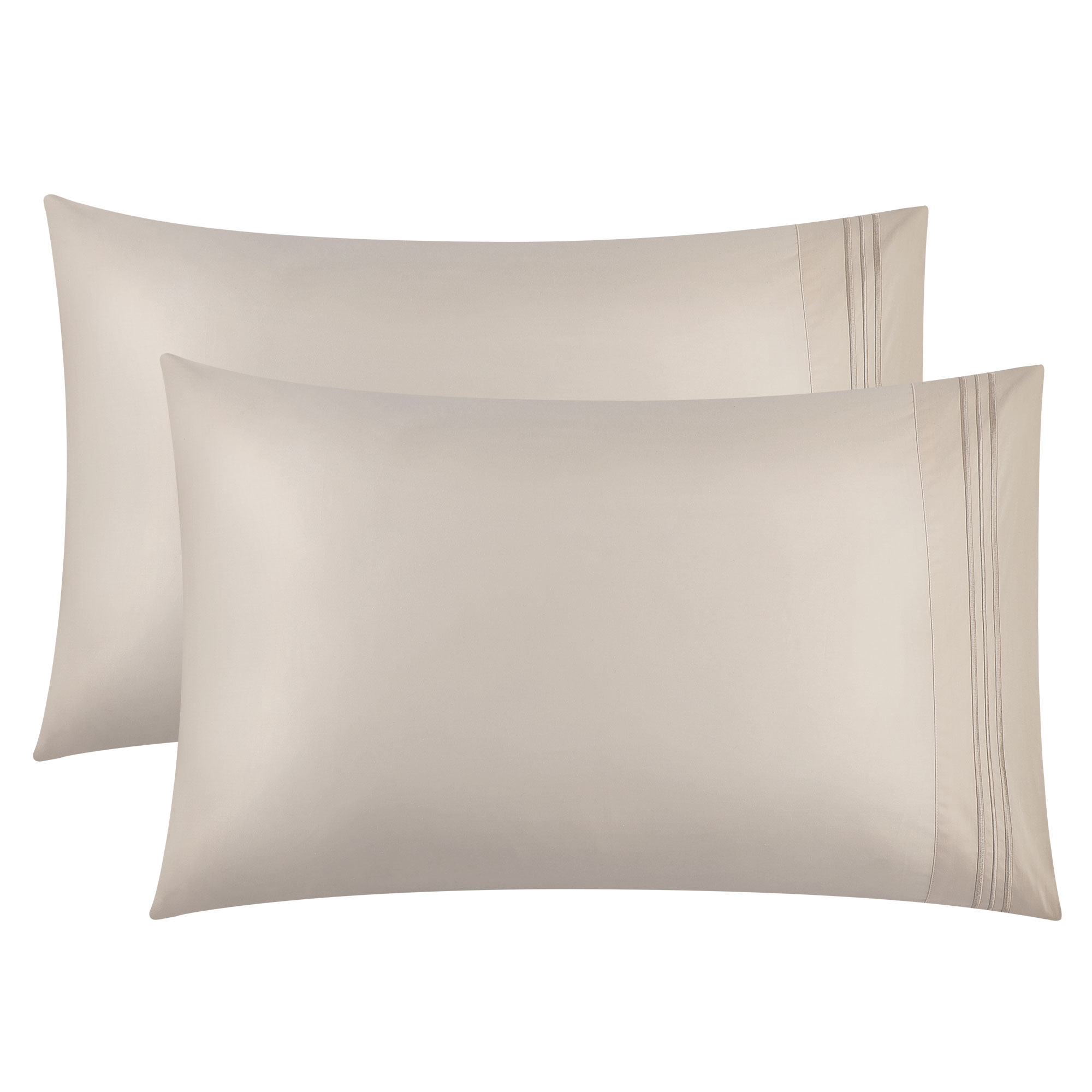 100% Combed Cotton Embroidered Pillow Cases Pillowcase,2pcs,Beige,King Size