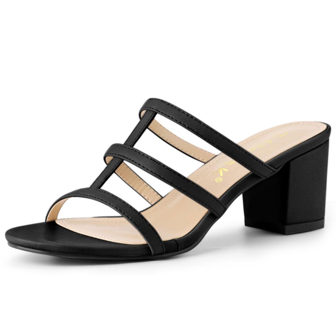 Allegra K Women's T Straps Block Heels Slip On Slide Sandals Black US 6