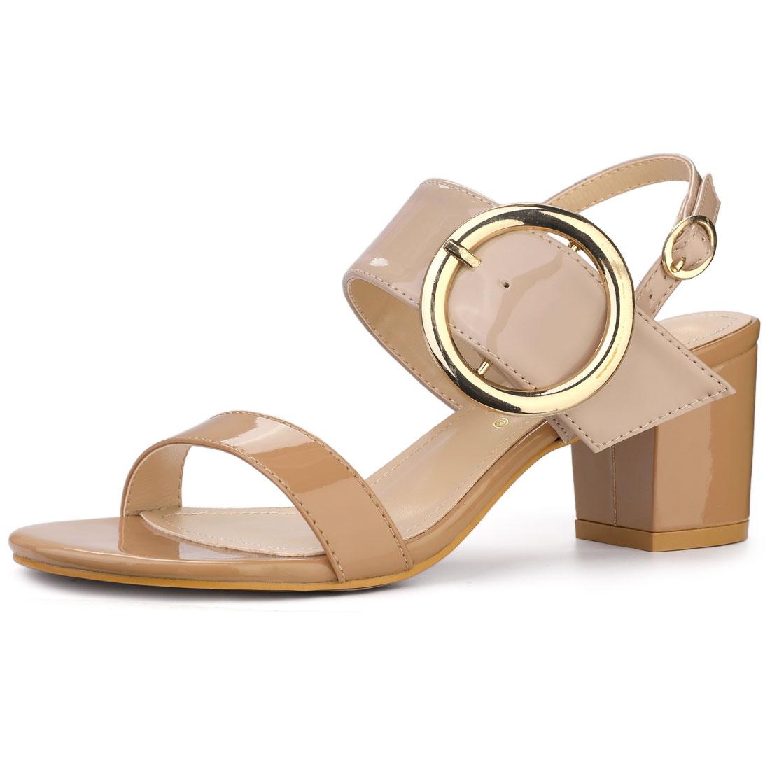 Allegra K Women's Slingback Block High Heel Sandals Beige Brown US 10