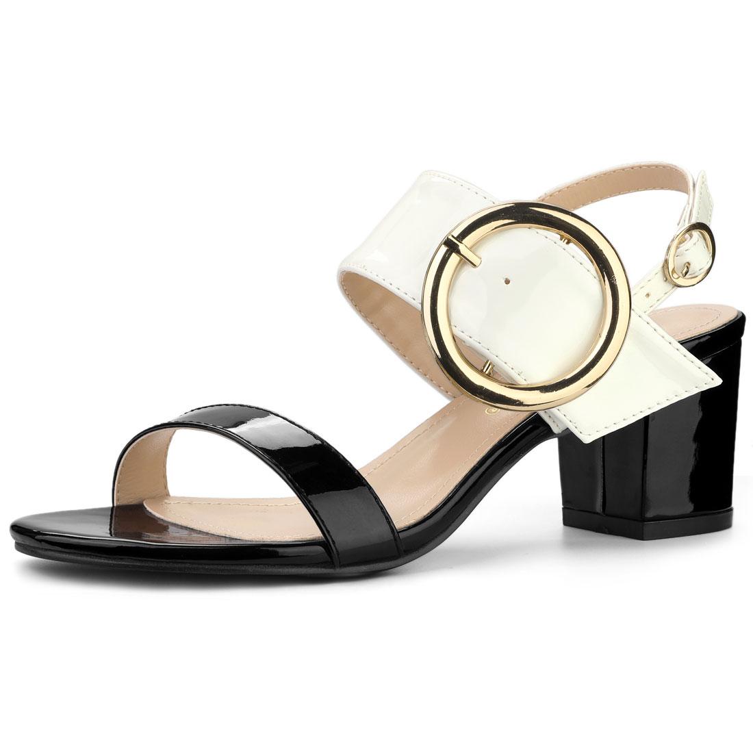 Allegra K Women's Slingback Block High Heel Sandals Black White US 8