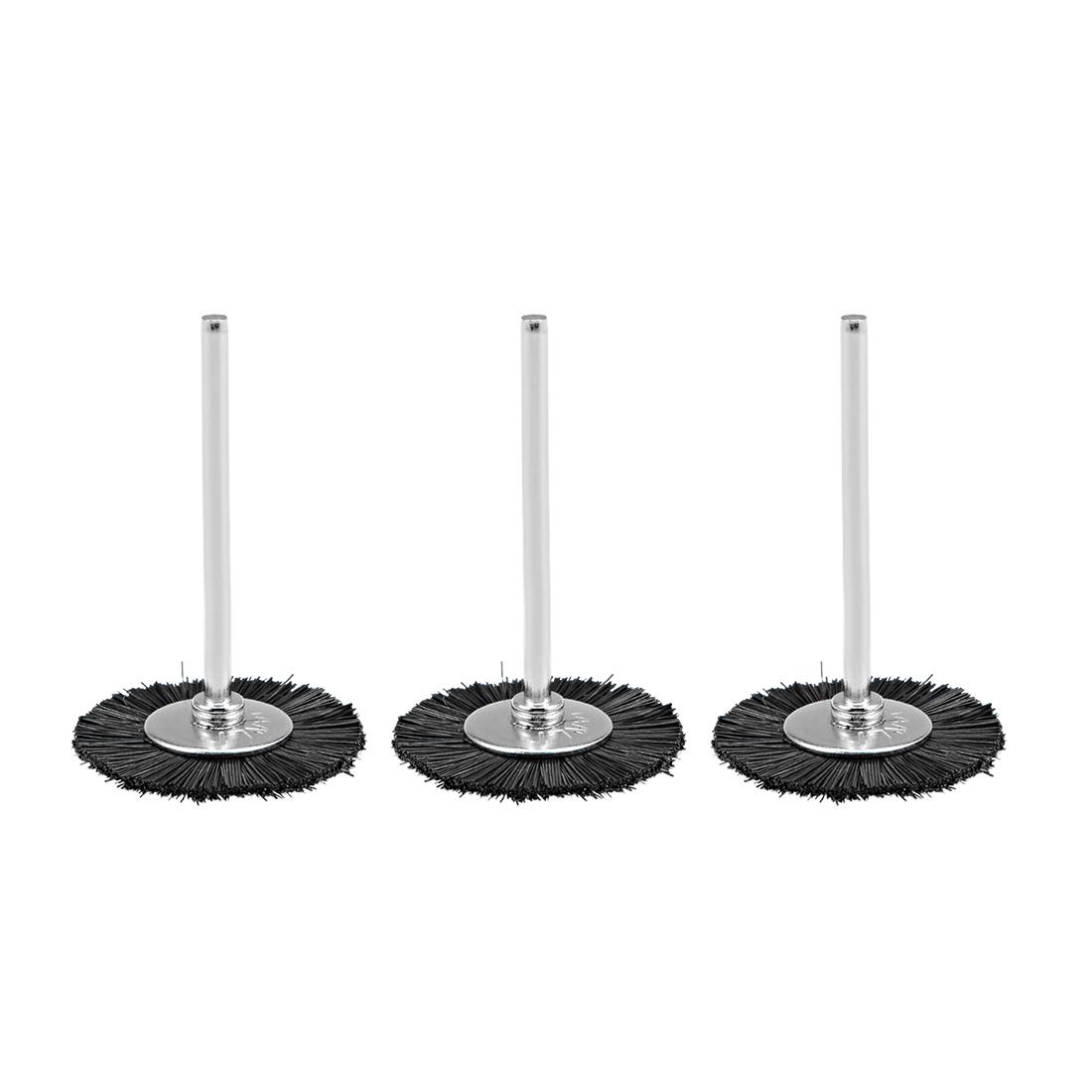 Mini Abrasive Wheel T Shape Nylon 25mm x 4mm with 2.35mm Arbor Black 3 Pcs