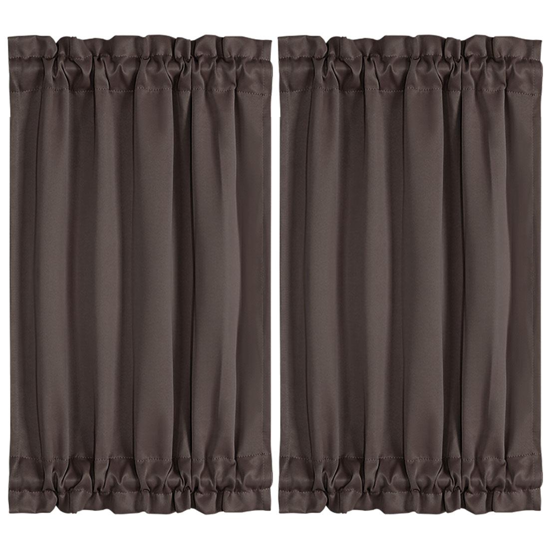 "2pcs Blackout Curtains Sliding Door Panel Darkening Drape Coffee Color 25"" x 40"""