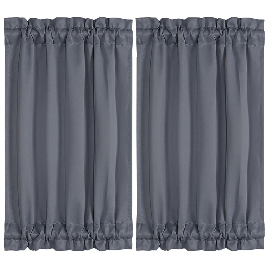 "2pcs Blackout Curtains Sliding Door Panel Darkening Drape Dark Gray 25"" x 40"""
