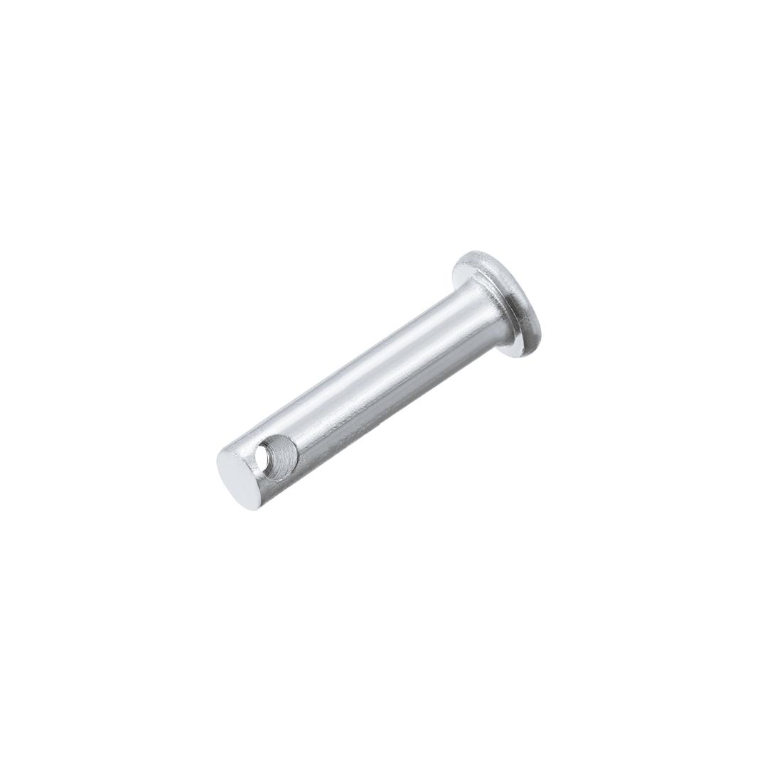 Single Hole Clevis Pins 5mm x 25mm Flat Head Zinc-Plating Solid Steel Pin 20Pcs