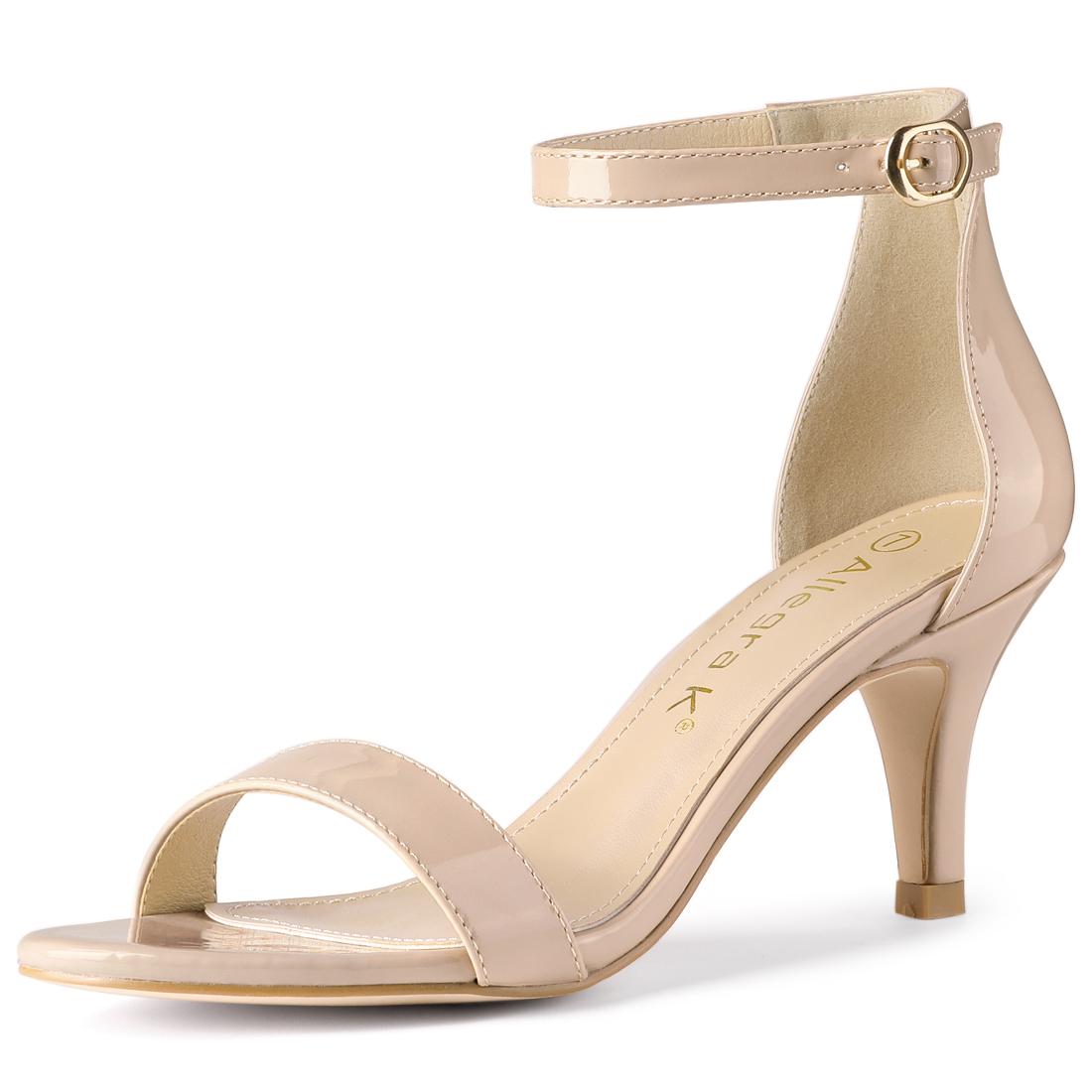 Allegra K Women's Opened Toe Stiletto Heel Ankle Strap Sandals Beige US 7