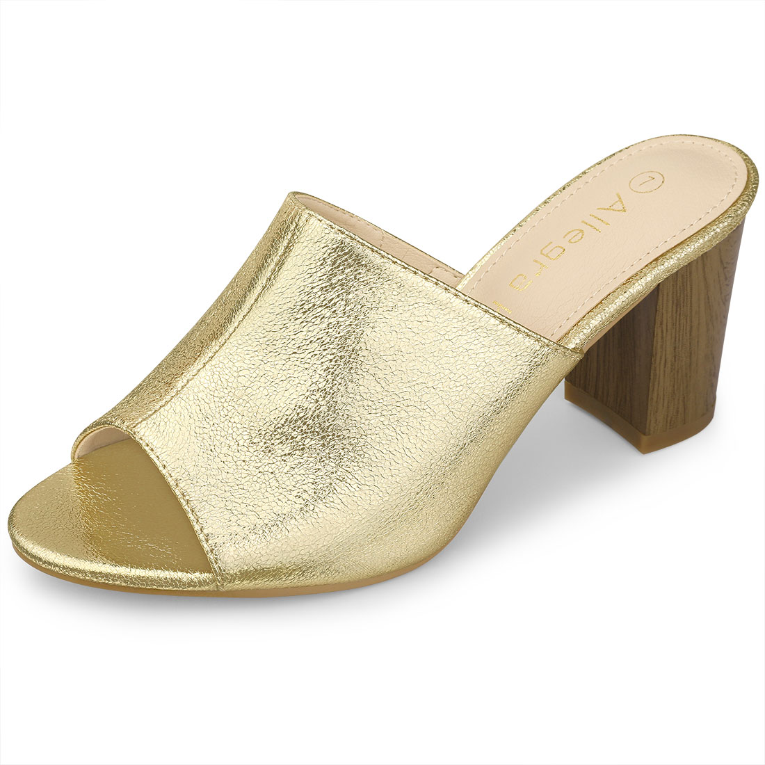 Allegra K Women's Open Toe Slide Chunky Metallic Heels Sandals Gold US 7