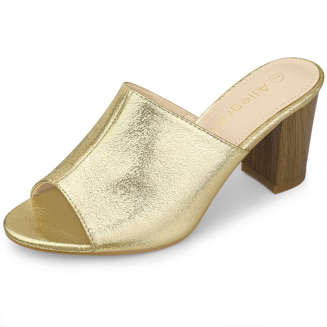 Allegra K Women's Open Toe Slide Chunky Metallic Heels Sandals Gold US 8