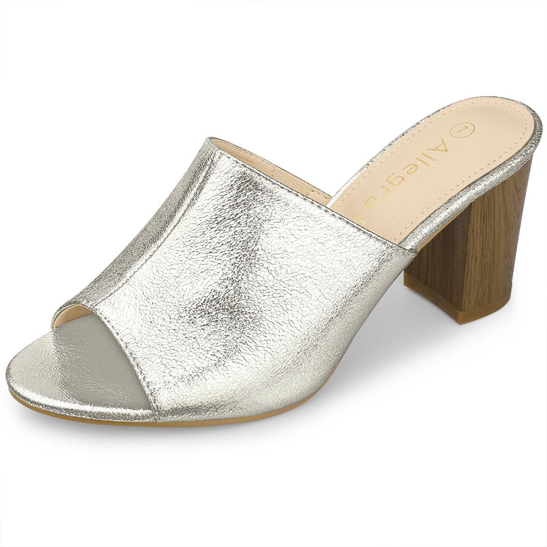 Allegra K Women's Open Toe Slide Chunky Metallic Heels Sandals Silver US 8.5
