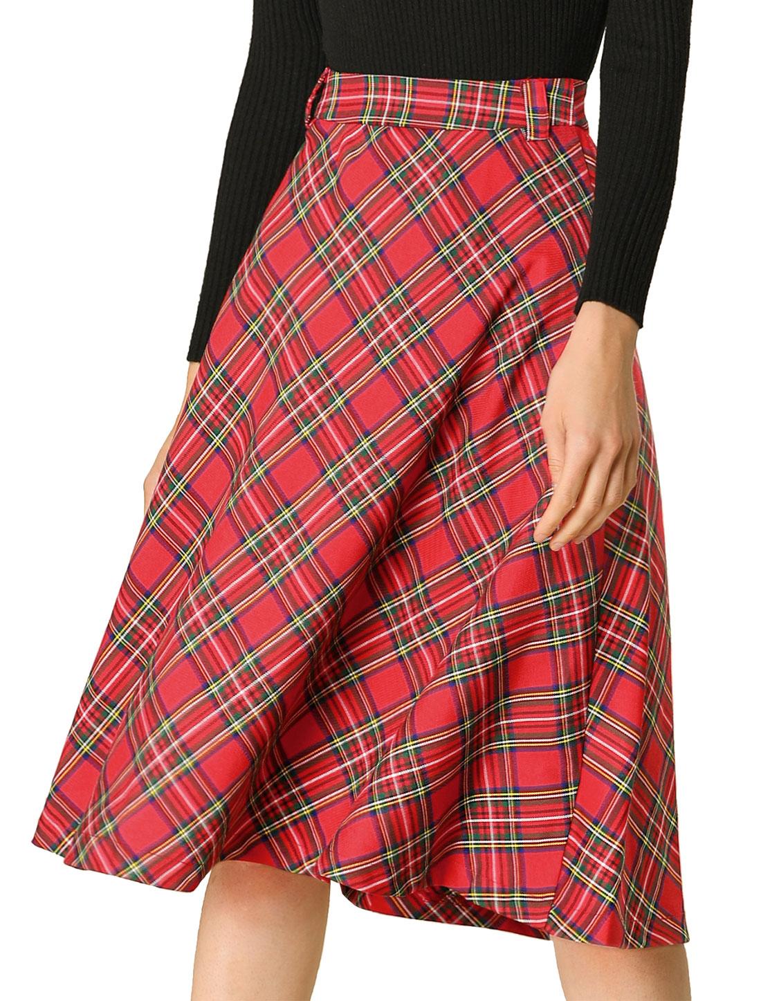 Allegra K Women's Plaid Checks Belted Swing Midi Skirt Red XS