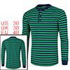 Men Long Sleeve Striped Pullover Henley Shirt Green Navy Blue M (US 38)