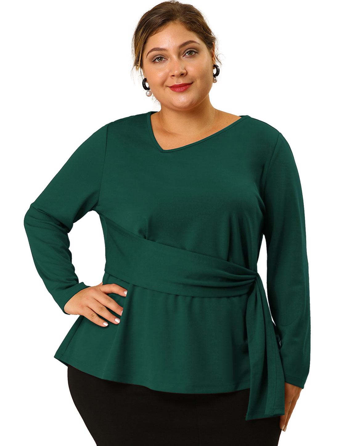 Women's Plus Size V Neck Belt Tie Blouse Long Sleeve Peplum Top Dark Green 3X