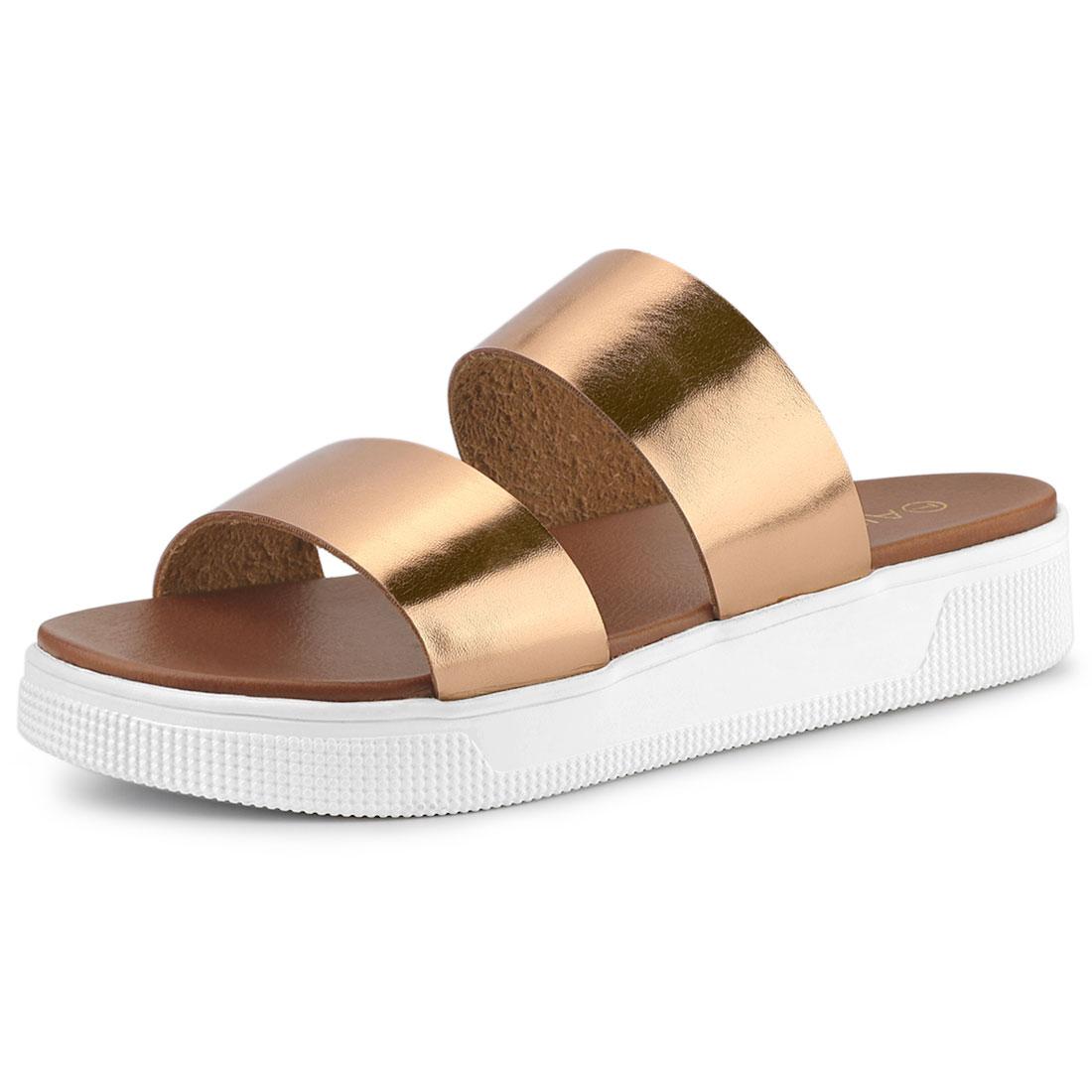 Allegra K Women's Open Toe Flatform Slides Sandals Rose Gold US 8