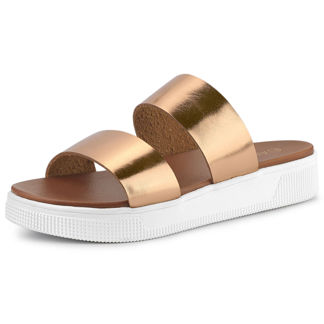 Allegra K Women's Open Toe Flatform Slides Sandals Rose Gold US 9