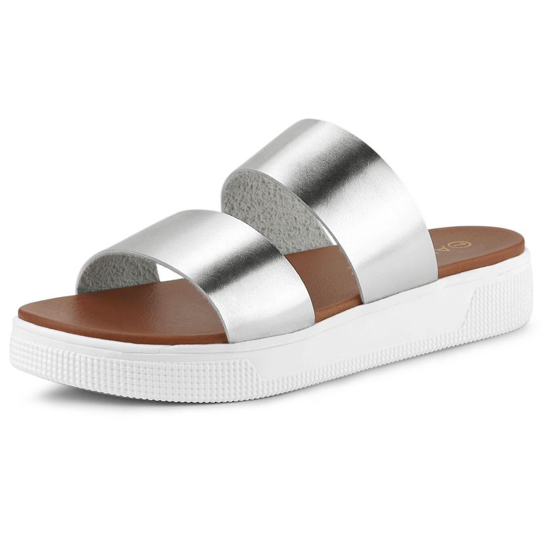 Allegra K Women's Open Toe Flatform Slides Sandals Silver US 6