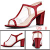 Allegra K Women's Clear T Strap Chunky Heels Sandals Red US 8