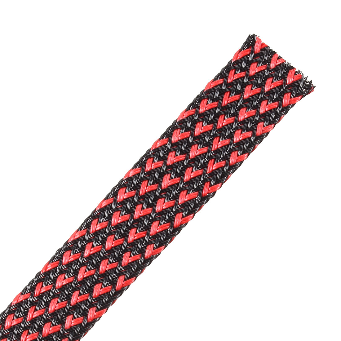PET Expandable Cord Protector, 10Ft-16mm Wire Loom Cable Sleeve Black and Red