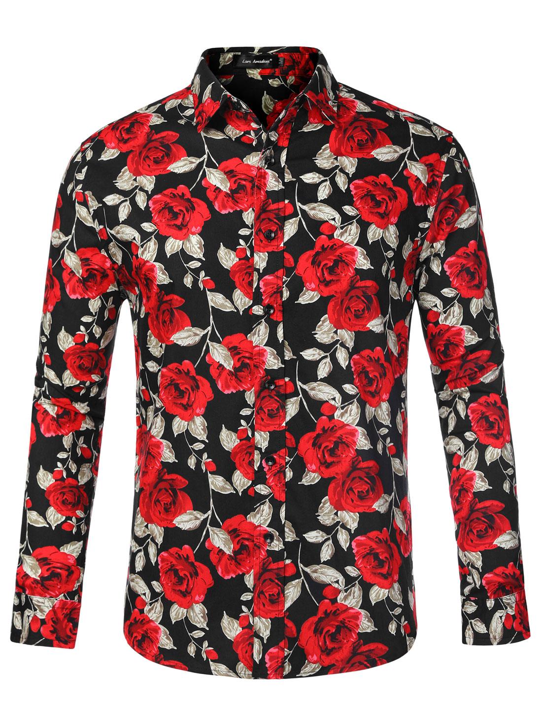 Men Floral Button Down Hawaiian Palm Flower Printed Shirt Black Rose L
