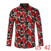 Men Floral Button Down Hawaiian Palm Flower Printed Shirt Black Rose L