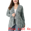 Women Plus Size Long Sleeves Cozy Stylish Autumn Cardigan Top Gray 4X