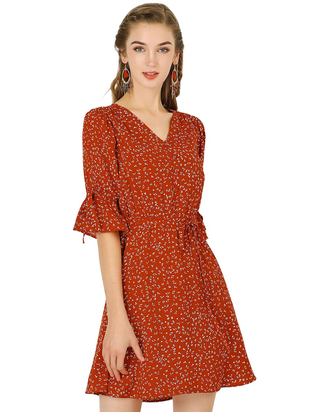 Allegra K Women's V Neck Tie Waist A-line Floral Dress Red M