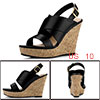 Allegra K Women's Platform Heeled Ankle Strap Wedges Sandals Black US 10