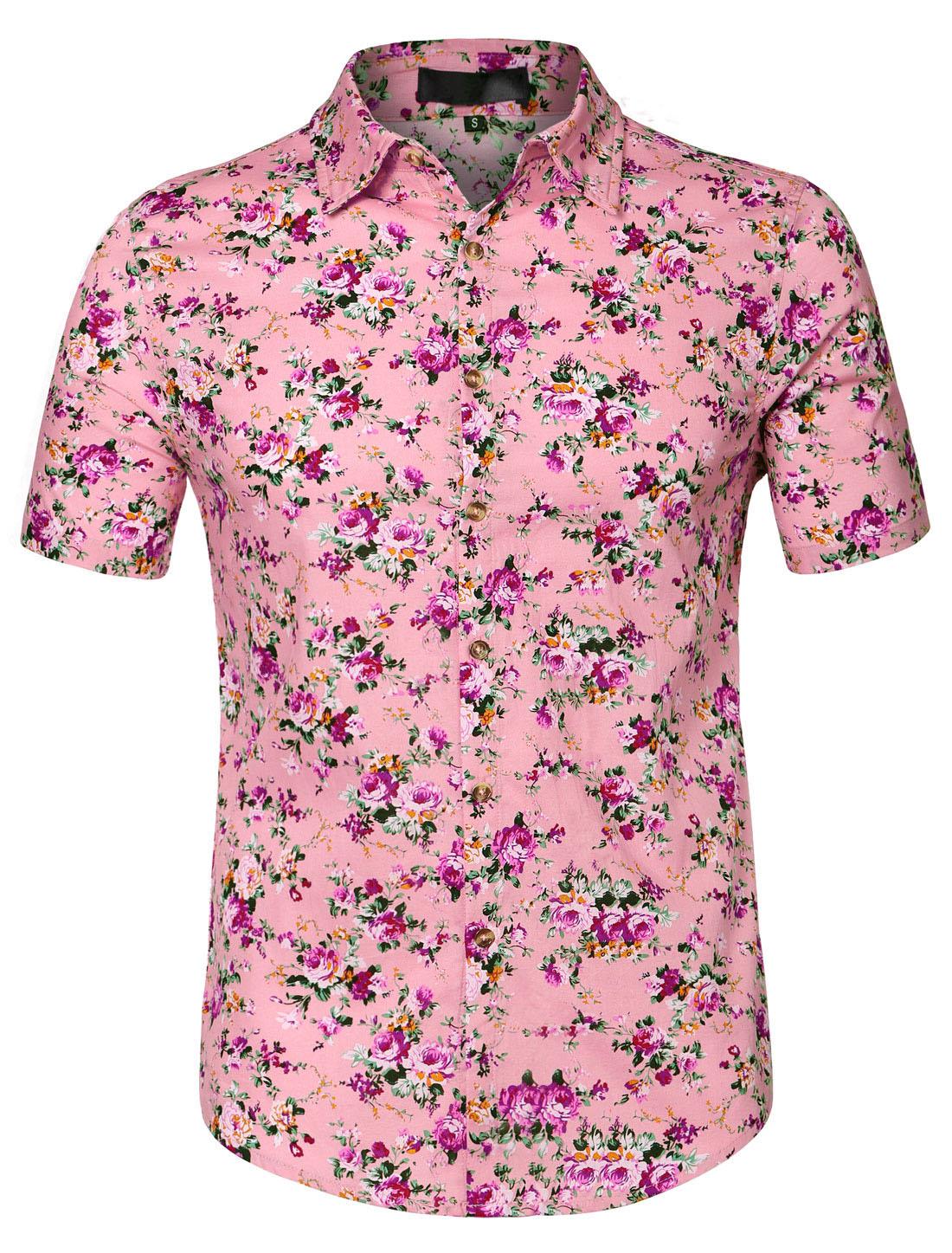 Men Short Sleeve Button Floral Print Beach Hawaiian Shirt Rose Red XL US 46