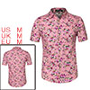 Men Casual Cotton Floral Print Short Sleeve Button Down Shirt Rose Red M US 38