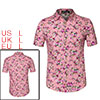 Men Short Sleeve Button Front Floral Print Beach Hawaiian Shirt Rose Red L US 42