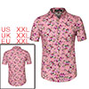 Men Short Sleeve Button Floral Print Beach Hawaiian Shirt Rose Red XXL US 50
