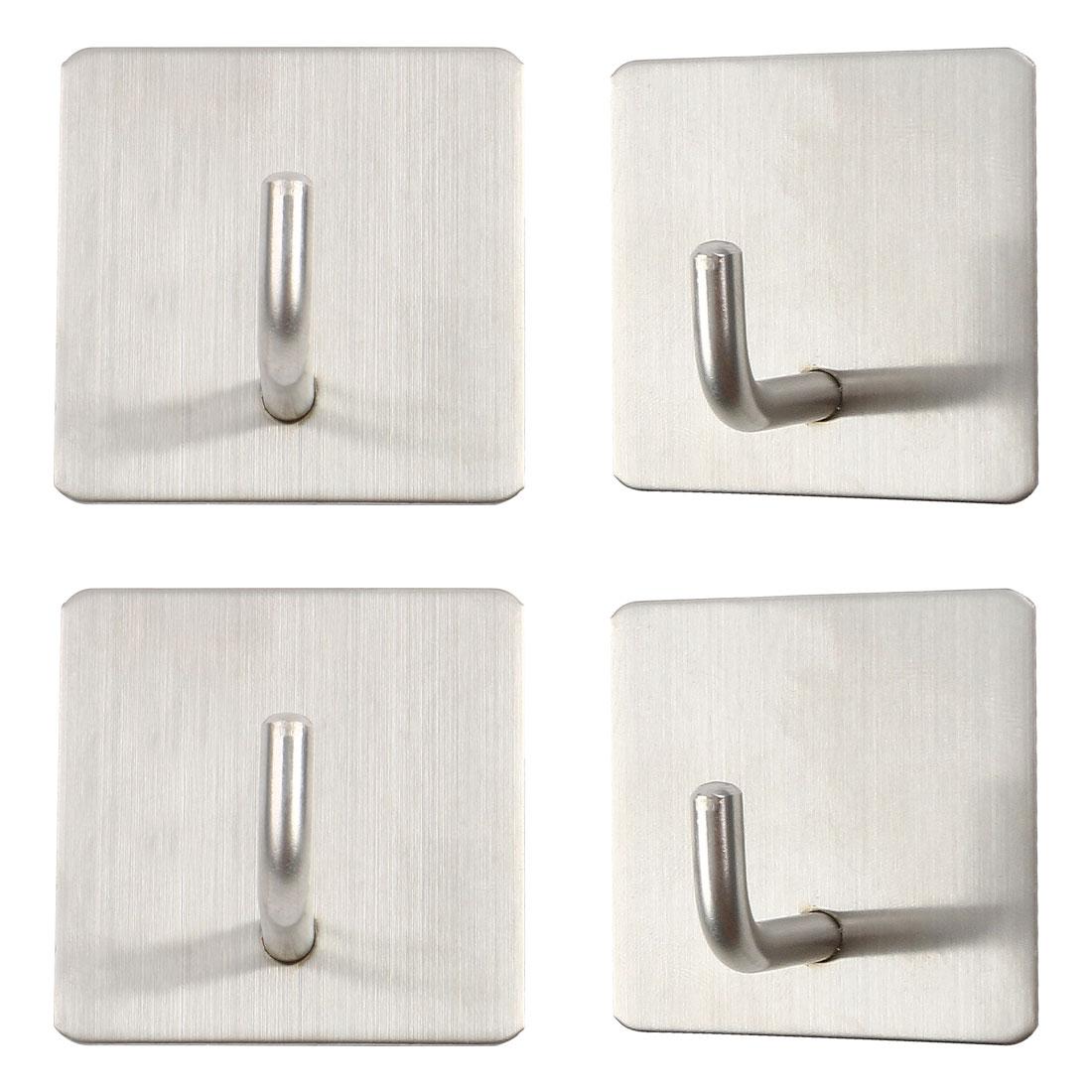 4pcs Stainless Steel Self Stick Wall Bathroom Hook Coat Towel Hanger Storage