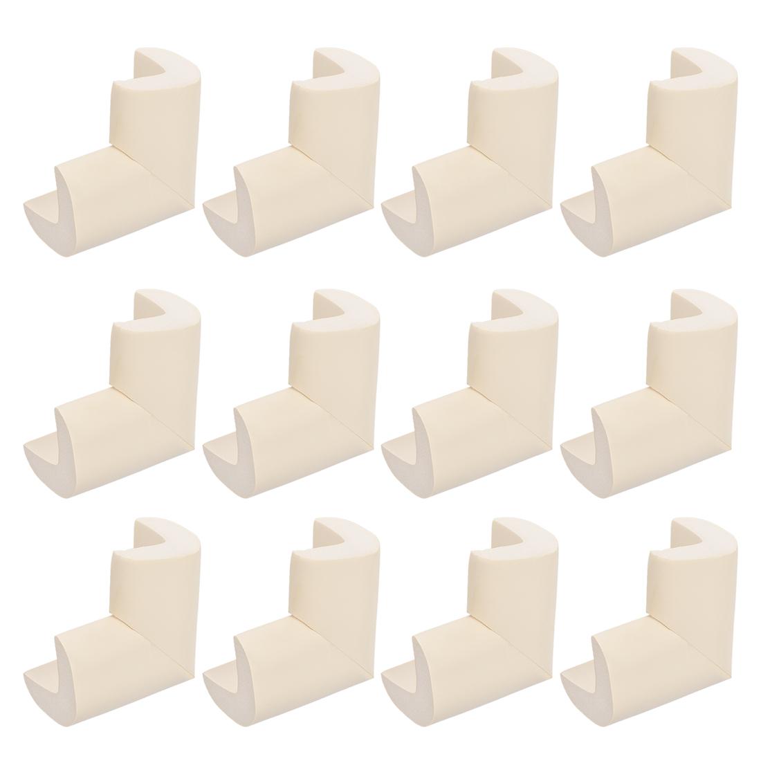Corners Table Edge Guard Angle Corner Protective Pad 50 x 35 x 15mm Beige 12pcs