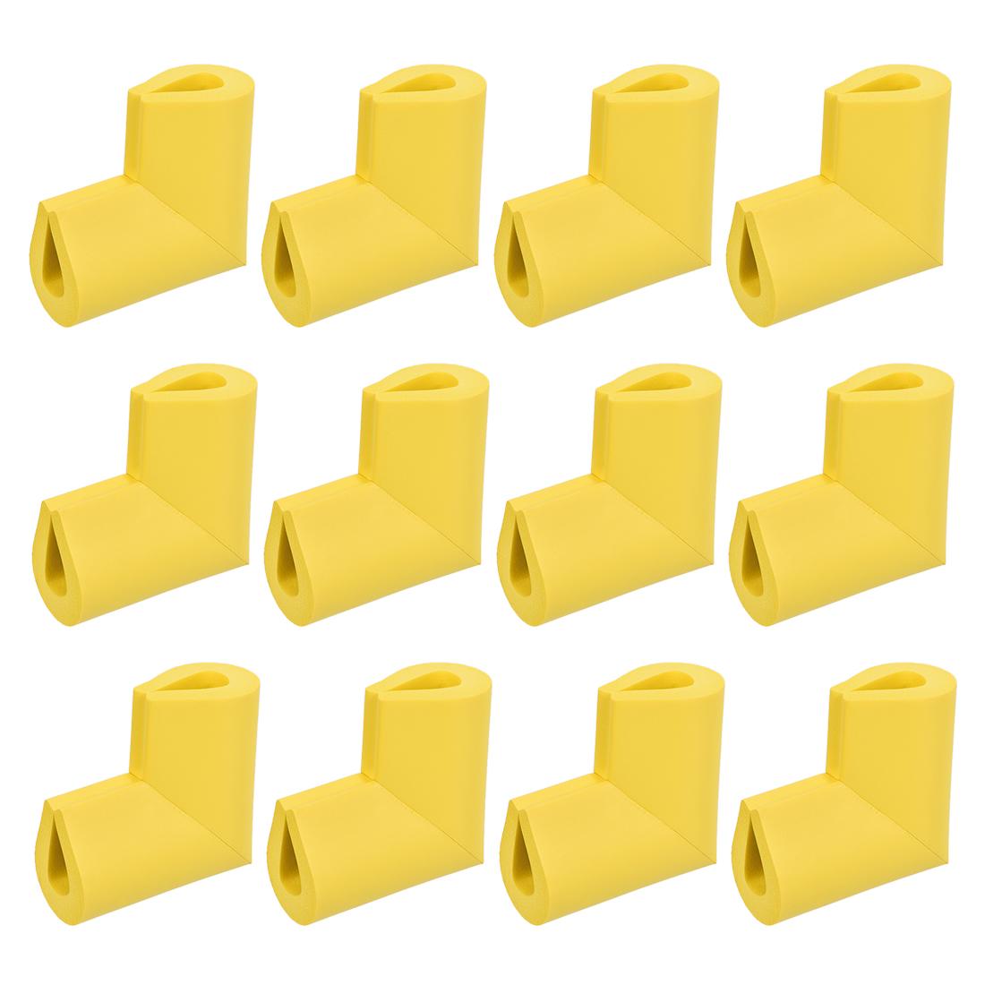 Corners Table Edge Guard U Shaped Angle Corner Guards 55 x 38 x 8mm Yellow 12pcs