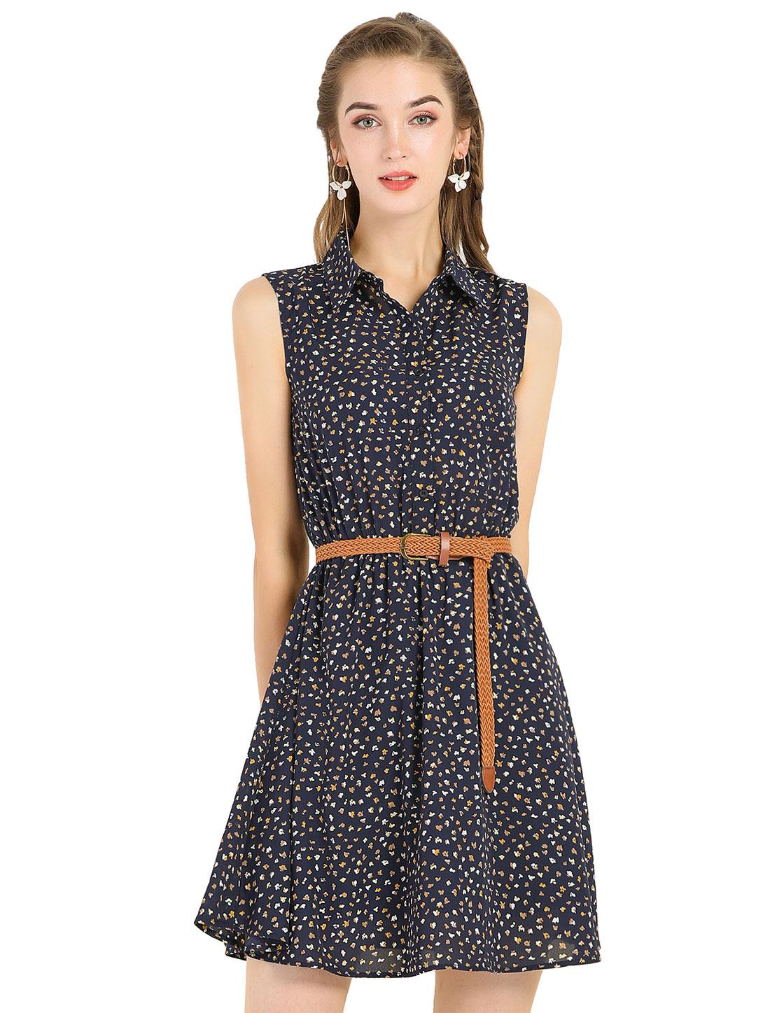 Allegra K Women Printed Sleeveless Belted Dress Dark Blue-Brown Print XS