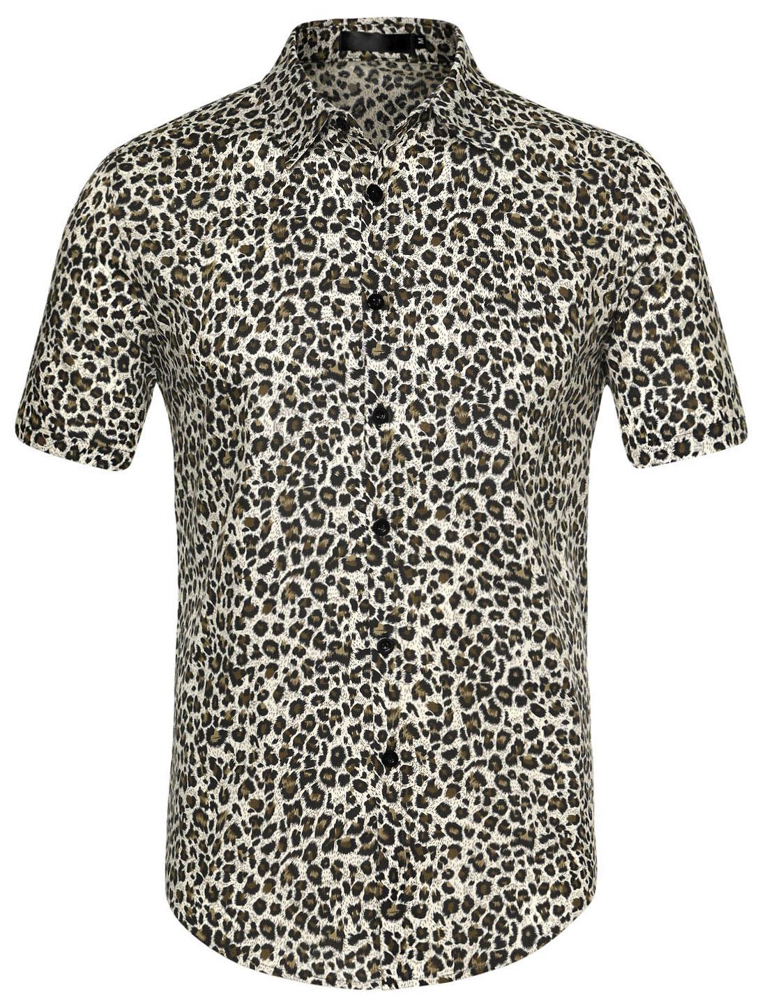 Men Button Front Floral Print Cotton Beach Hawaiian Shirt Leopard XL (US 46)