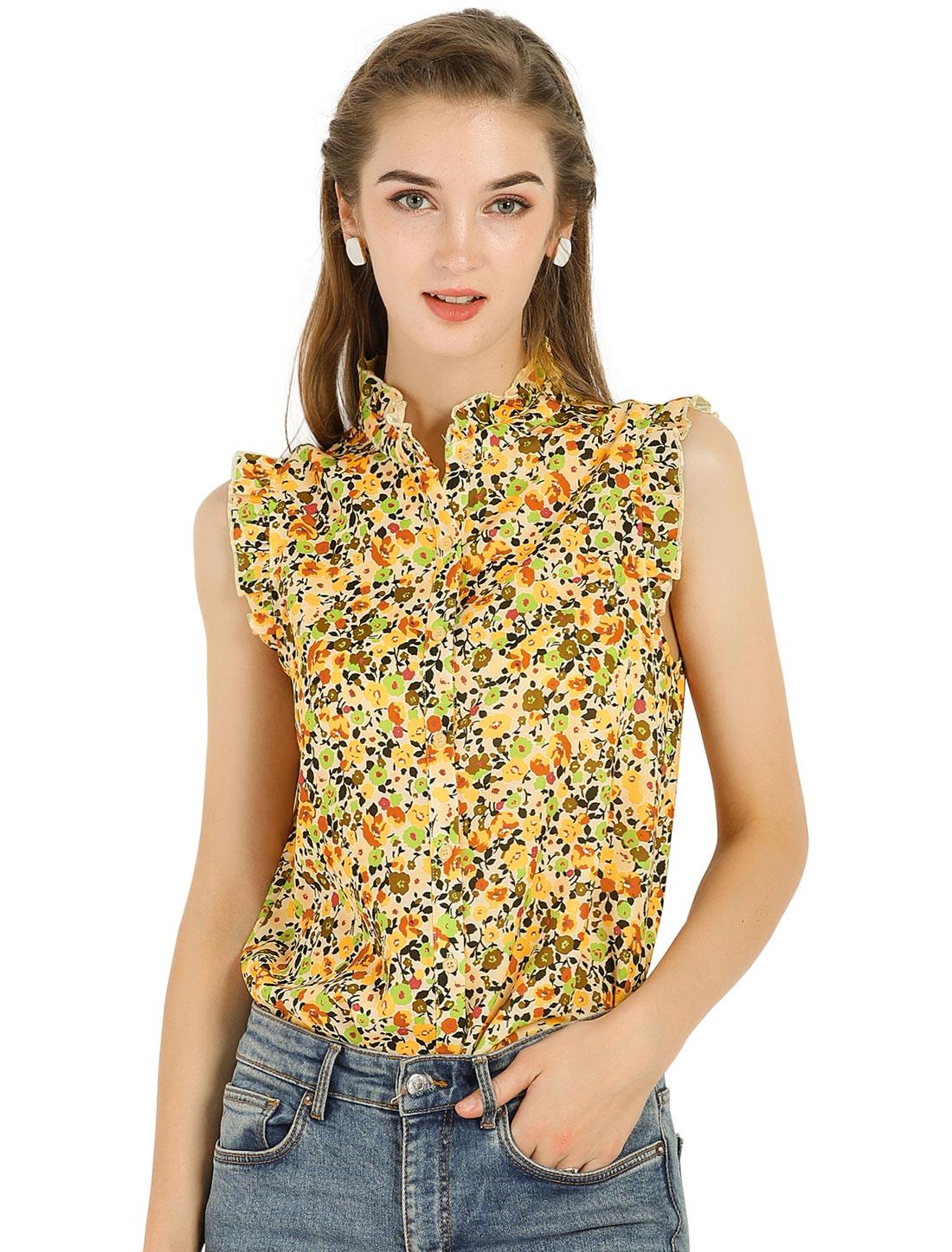 Allegra K Women's Sleeveless Ruffle Neckline Floral Top Yellow M