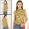 Allegra K Women's Sleeveless Ruffle Neckline Floral Top Yellow Small