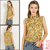 Allegra K Women's Sleeveless Ruffle Neckline Floral Top Yellow Medium