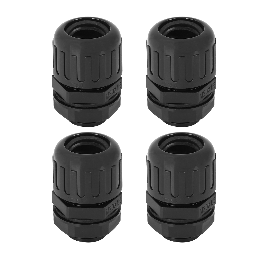 Cable Gland Nylon Plastic Connectors AD18.5 Pipe Joint Clamps M20X1.5 4pcs