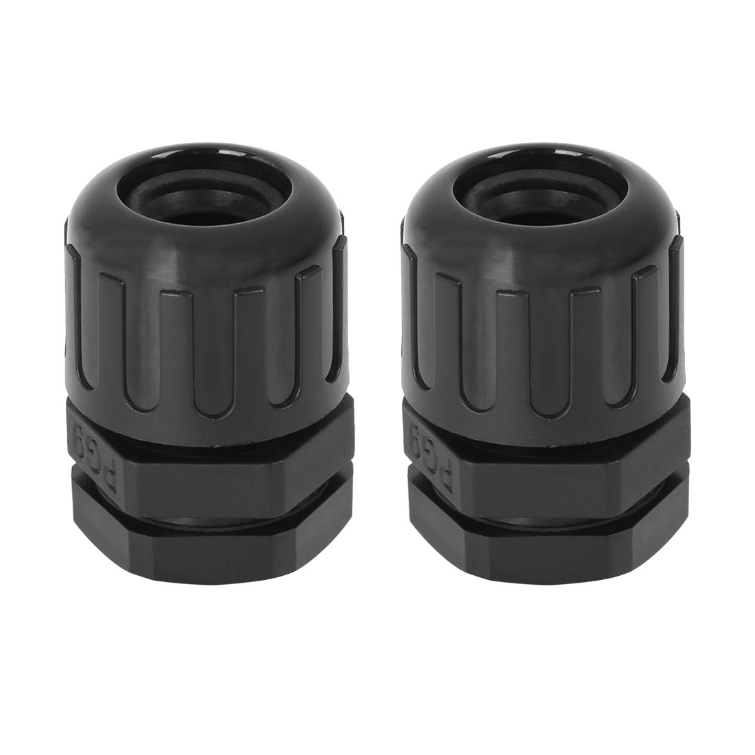 Cable Gland Nylon Plastic Tube Connectors with Lock Nut and Gaskets PG9 2pcs
