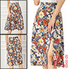 Allegra K Women's High Waist Slit Hem A-Line Floral Skirt Small Black